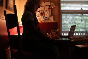 hunkered down in the studio
